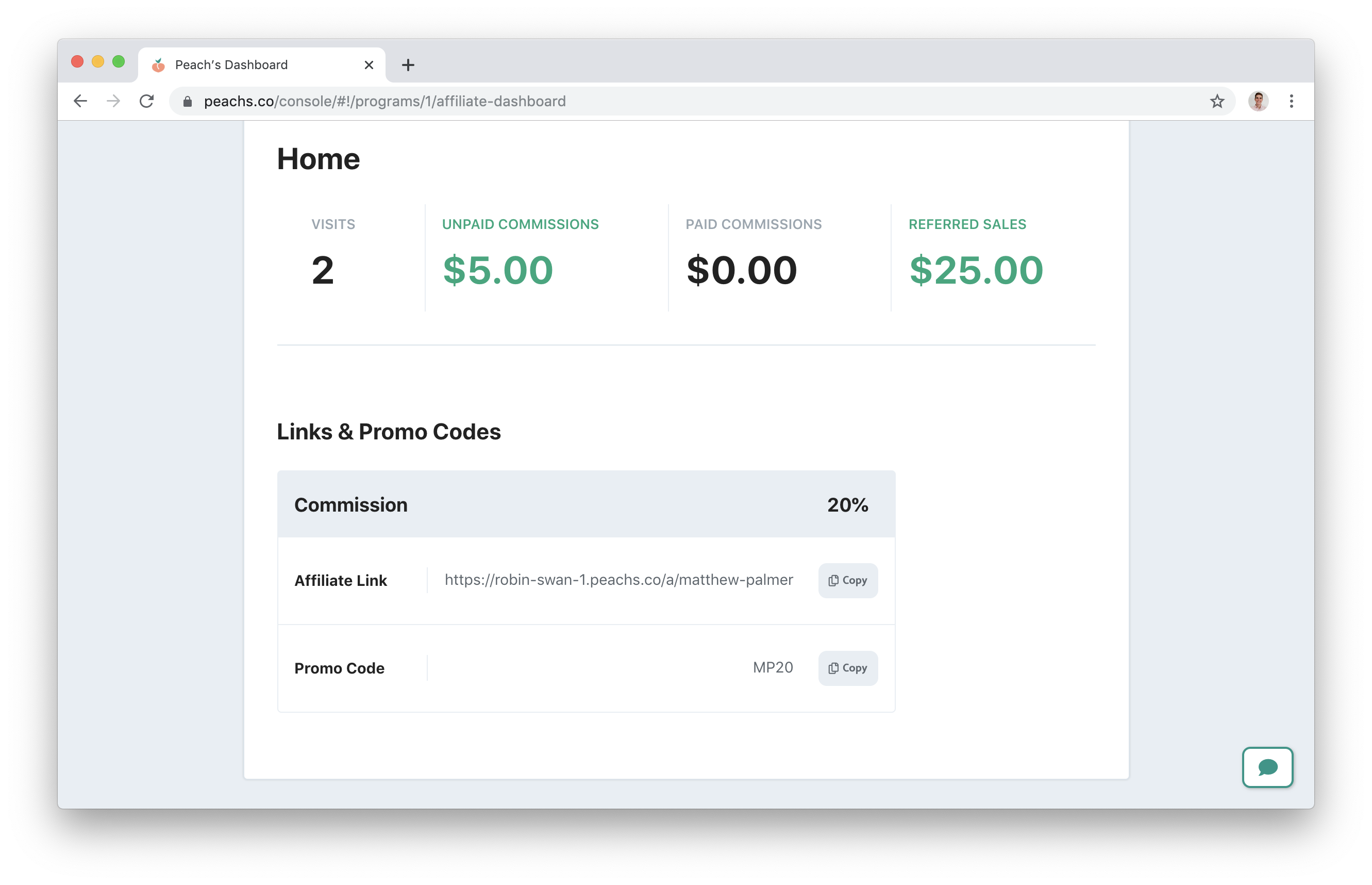 Squarespace Affiliate dashboard with code share